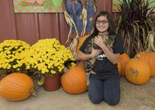 Katy Chen of Louisville, Mississippi, holds the unofficial mascot of May's Corn Maze in Stewart, Mississippi, in front of the agritourism farm's pumpkin patch. The state enjoyed a strong pumpkin harvest for the second straight year. (Photo by MSU Extension Service/Kevin Hudson)
