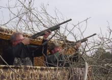 Two hunters in Claiborne County take aim at incoming crows. Much like duck hunting, participants wait in blinds overlooking decoys. (File photo by MSU Extension Service/Cliff Covington)