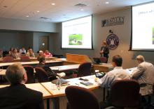 Kay Whittington, director of the Mississippi Department of Environmental Quality Office of Land and Water Resources, speaks to Mississippi State University faculty and administrators during MDEQ's visit to MSU Monday, April 20, 2015. (Photo by MSU Ag Communications/Kat Lawrence)