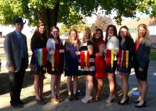 The Mississippi State University Horse Judging Team, which recently was named the Reserve Grand Champion Team at the All American Quarter Horse Congress, is coached by Extension equine specialist Clay Cavinder, pictured with team members, from left, Hannah Miller, Ashley Greene, Ashley Palmer, Samantha Miller, Carlee West, MaeLena Apperson, Hannah Collins and assistant coach Emily Ferjak. (Submitted photo)
