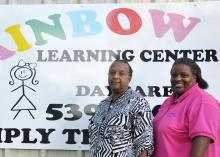 Minerva Graham (left) and Shelia Sanders, co-directors and co-owners of the Rainbow Learning Center in New Albany, receive educational technical assistance and support for school-age children through the Early Years Network, a program of the Mississippi State University Extension Service. This photo was taken Aug. 25, 2016. (Photo by MSU Extension Service/Alexandra Woolbright)