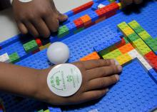 One lesson in the 4-H Lego Engineering Club curriculum involves designing a Lego maze that is difficult to navigate but wide enough to accommodate a ping-pong ball or toy. (Photo by MSU Extension/Kevin Hudson)