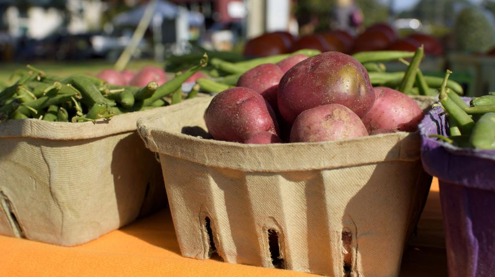 Red potatoes in a biodegradable basket are flanked on either side by green snap beans.