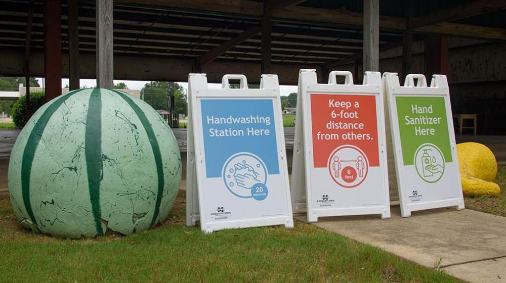 """Three signs with """"Handwashing Station Here,"""" """"Keep a 6-foot distance from others,"""" and """"Hand Sanitizer Here"""" next to a large watermelon sculpture."""