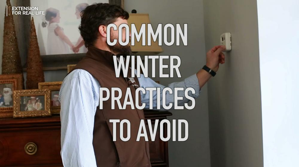 Common Winter Practices to Avoid superimposed over man adjusting thermostat