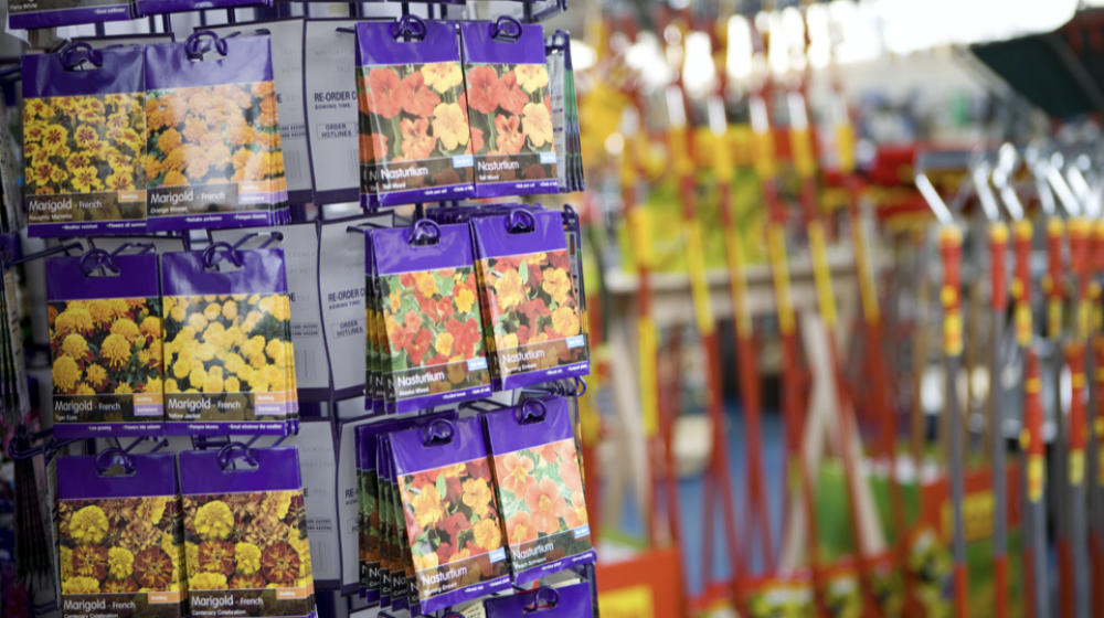 Seed packets on a display in a garden store.