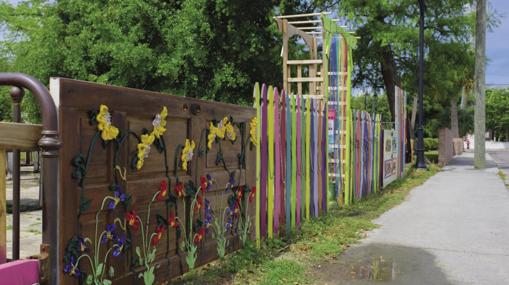 brightly colored wooden fence and gate