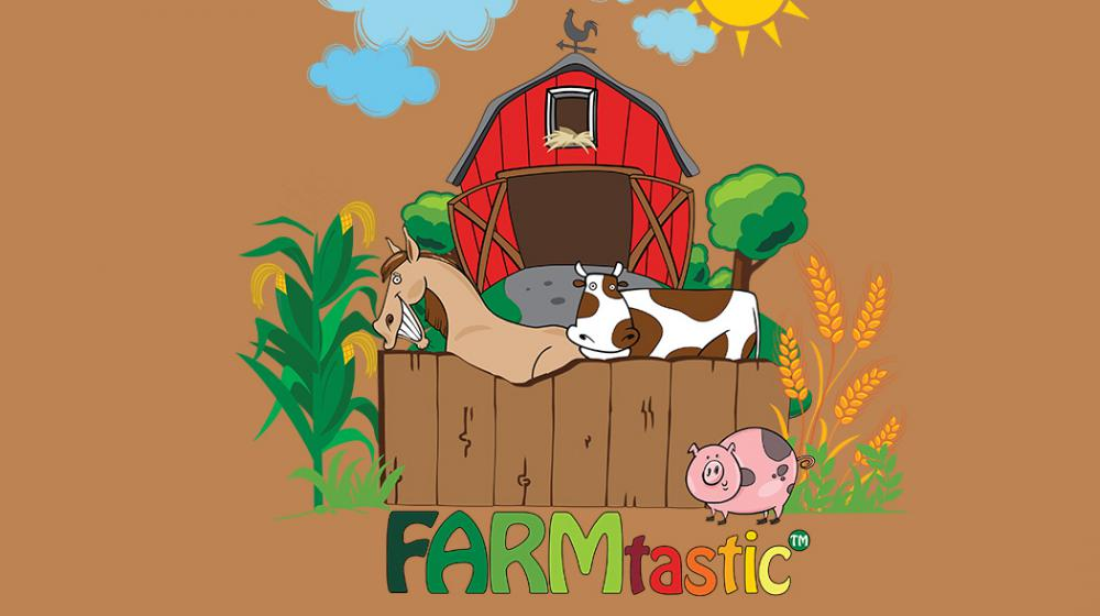 The FARMtastic logo depicts a red barn with a brown wooden fence and features a tan horse, a white and brown cow, a pink pig with gray spots, a corn plant on the left of the fence and a wheat plant on the right.