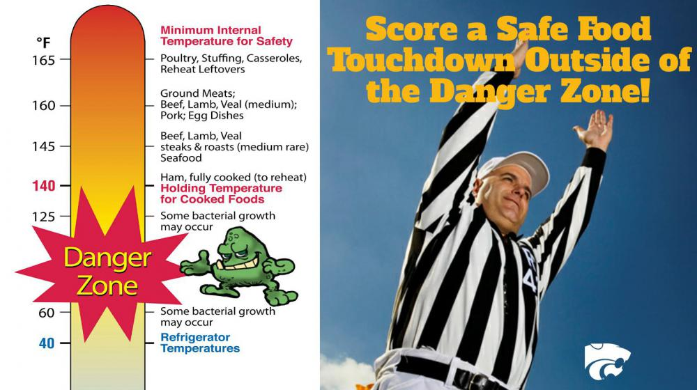 A football referee in a black and white striped shirt blows a whistle while another raises his arms to signal a touchdown. Another illustration uses a thermometer to depict the proper freezing, refrigeration, cooking and holding temperatures for food.