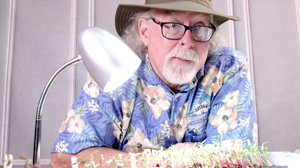 A man with a white goatee and dark-framed glasses leans on a table behind a small LED table lamp and a tray of seedlings. He wears a blue floral Hawaiian shirt and brown hat.