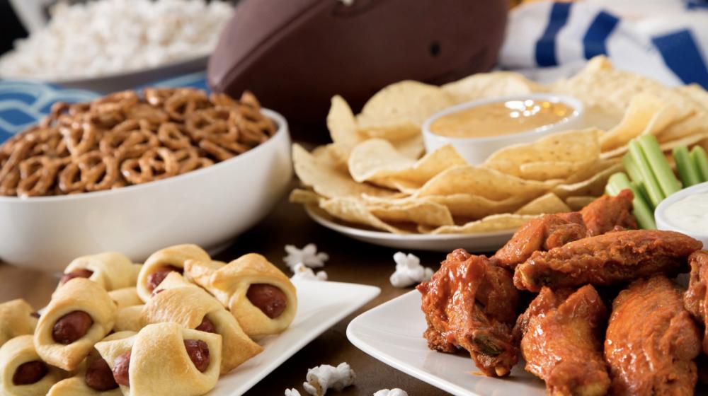 Various finger foods arranged buffet style.