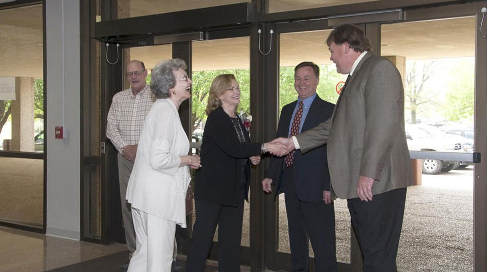Dr. Gary Jackson greeting people