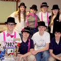 "The ""Challenge Accepted"" robotics team celebrates winning the Feb. 7-8, 2014, state competition in Oxford, Miss. They include (front row, from left) Nathan Rodgers (holding Geoff the robot), Cade Holliday, Will Gaines and Chandler Holliday, and (back row, from left) Jill Gautier, Skyler Smith, Jon Rodgers and Paige Gautier. (Submitted Photo)"