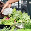 A farmers market vendor holds a bag for a customer shopping for fresh salad greens.