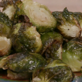 Roasted Brussels sprouts on a serving dish.