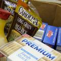 An assortment of food items in a box.