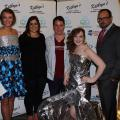 From left, model Kristen Ashe stands with sophomore apparels, textiles, and merchandising students Laura Richardson and Jesse Newton, model Ashtyn Bryant, and assistant professor Charles Freeman in the Mississippi Craft Center for the annual Project Rezway fashion show April 17, 2014. (Submitted Photo)