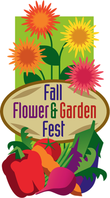 The logo for the Fall Flower & Garden Fest includes vegetables and flowers surrounding the fest name.