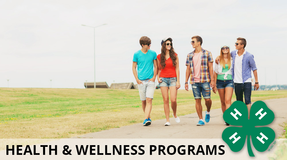 The 4-H Health & Wellness header. Shows a group of youth walking and talking.
