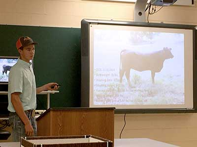 A young man presenting at the Replacement Beef Heifer Development contest.
