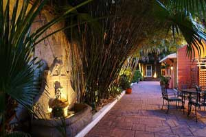 This is an image of a courtyard at night.