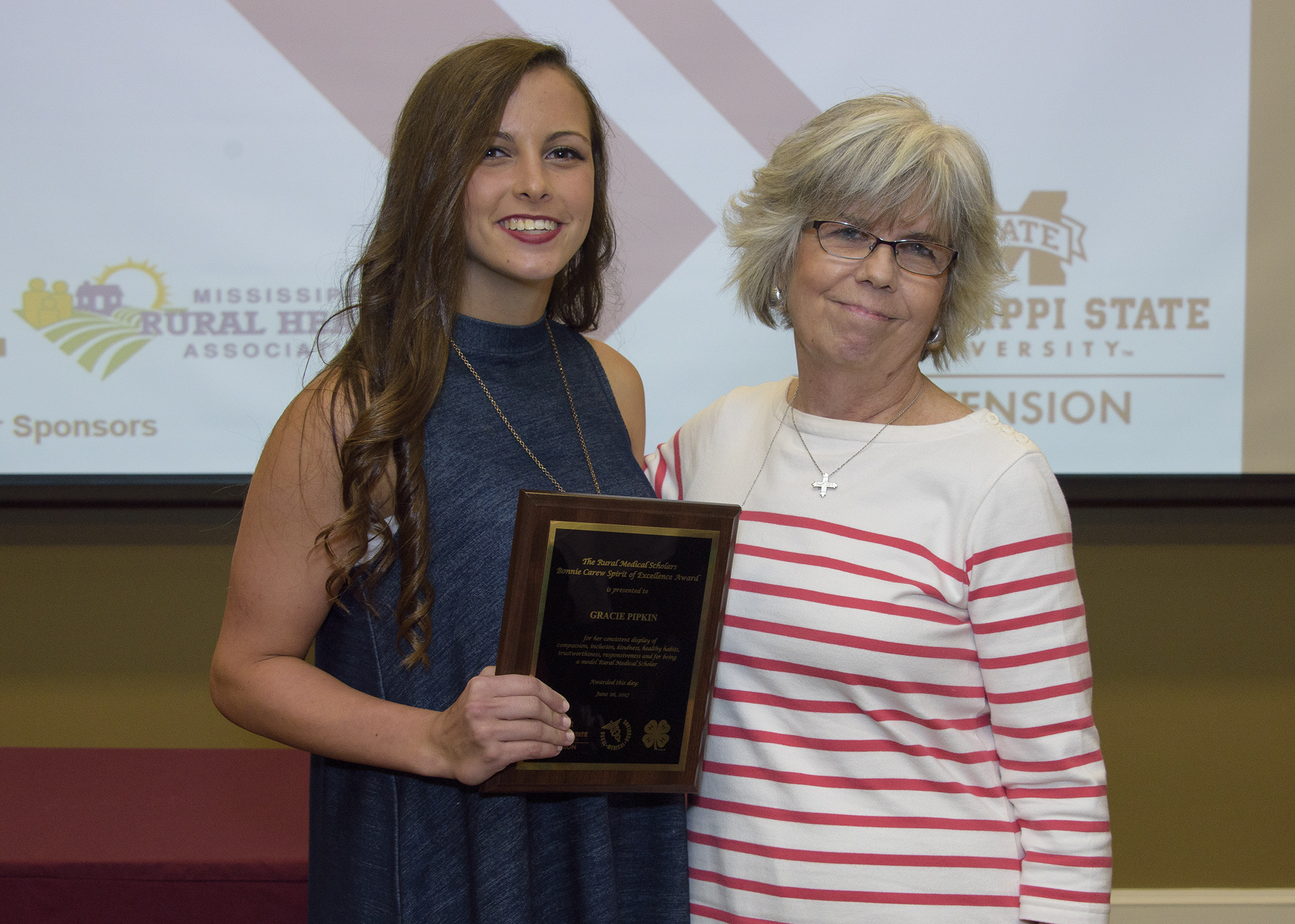 Bonnie Carew with the 2017 RMS Bonnie Carew Spirit of Excellence Award recipient, Gracie Pipkin.
