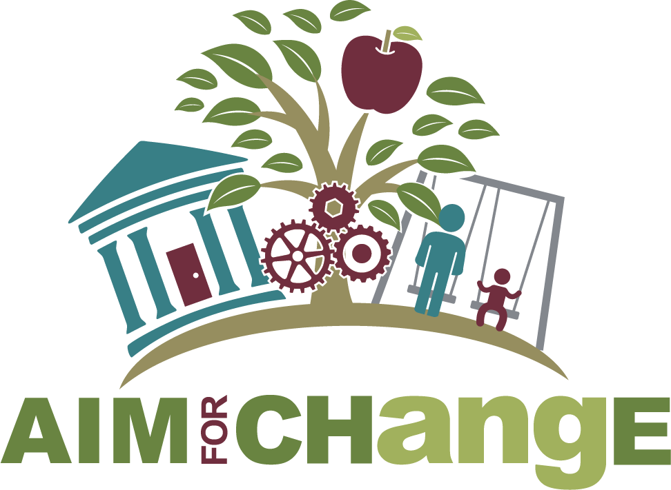 "The AIM for CHangE logo (stylized with capital A, I, M, C, H, and E) has ""AIM for CHangE"" at the bottom and some simple icons above to represent a ""policy, systems, and environmental"" approach. The logo includes three mechanical gears in the middle, a courthouse, a tree with an apple, and a child on a swing-set with an older individual."
