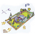 Color diagram showing garden layout with shade tree considerations. Illustration by Richard Martin III.