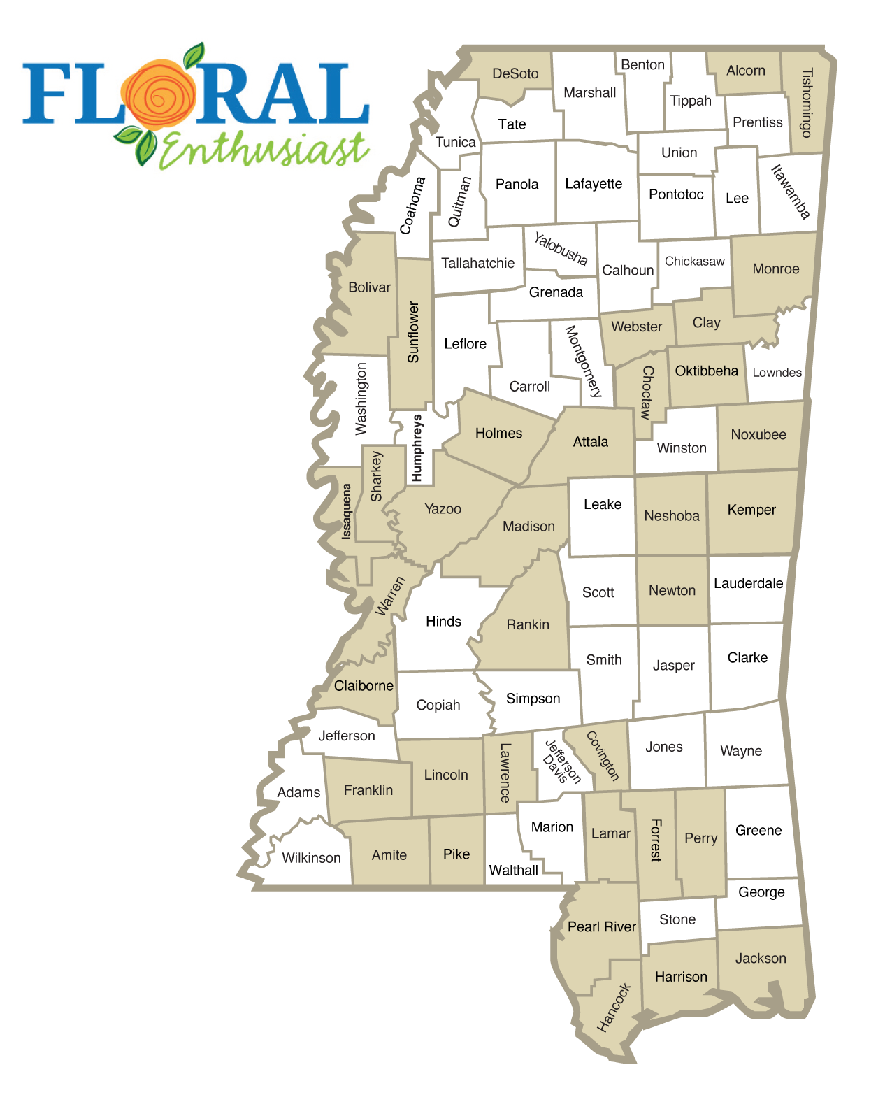 Mississippi map highlighting counties listed in text