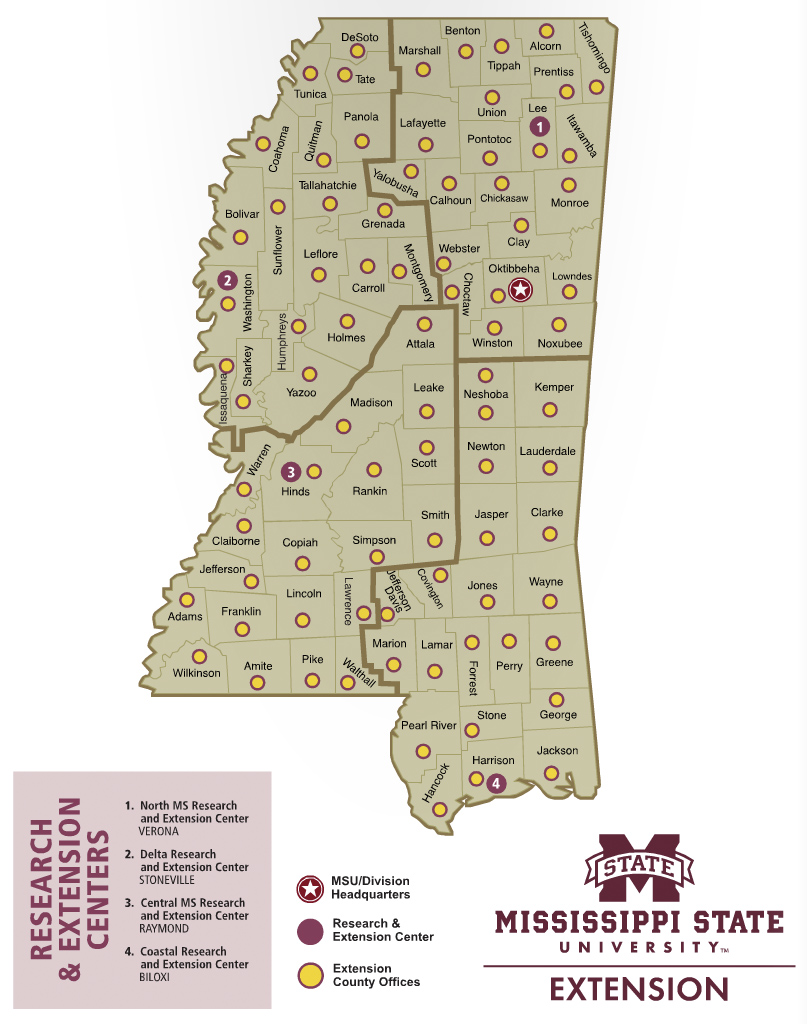 Map of Mississippi Research and Extension Center locations.