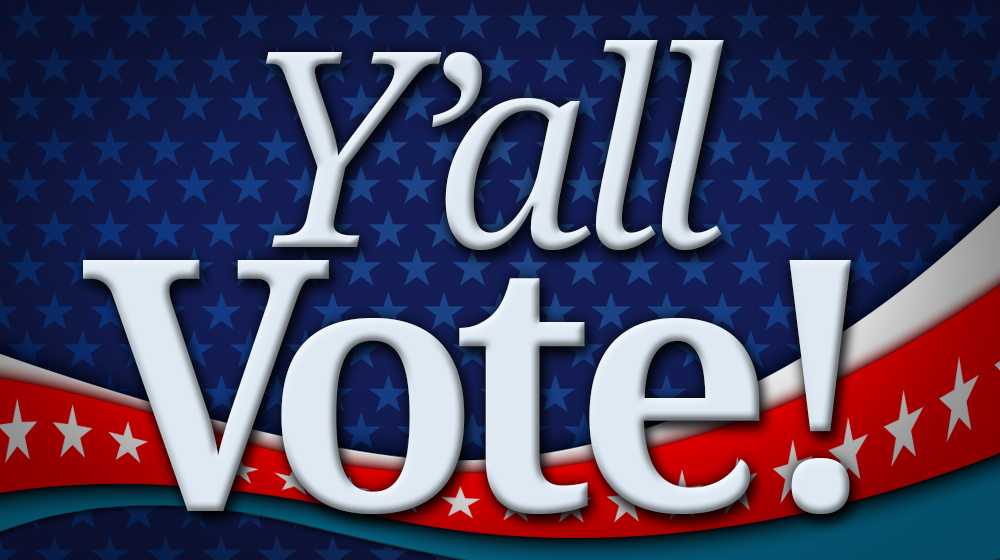 Y'all Vote with a red, white, and blue background filled with stars.