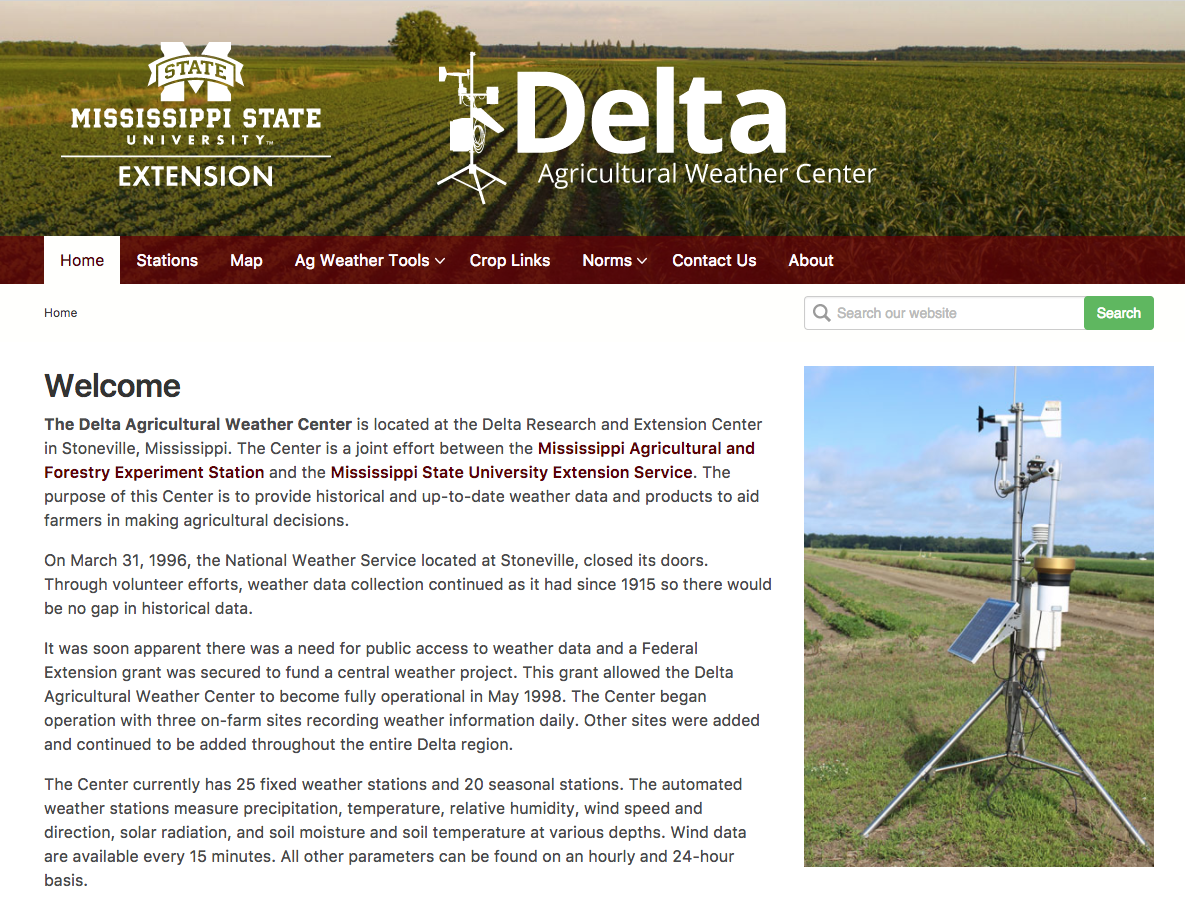 Screen shot of the Delta Agricultural Weather Center website.