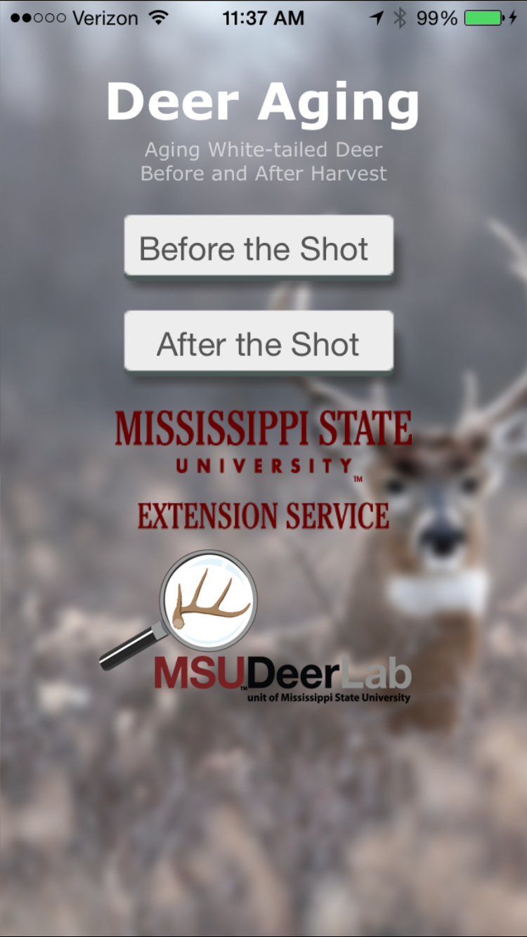 Screenshot of the Deer Aging app, which includes a blurry image of white-tailed buck with large antlers and the MSU Deer Lab logo.