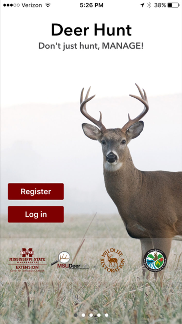 Screenshot of the Deer Hunt app which includes an image of a large white-tailed buck standing in a field of dried grass.