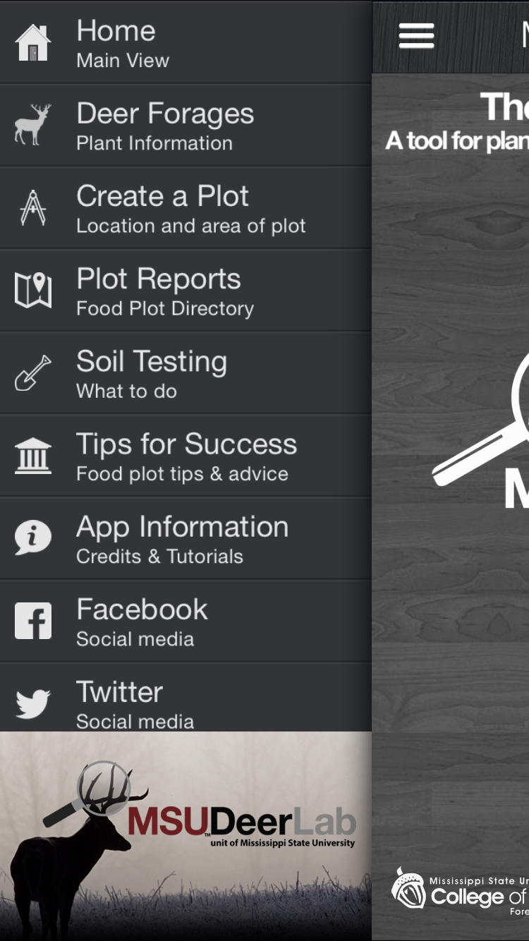 The Deer Food plot app screenshot of menu options including deer forages, soil testing, and tips for success.
