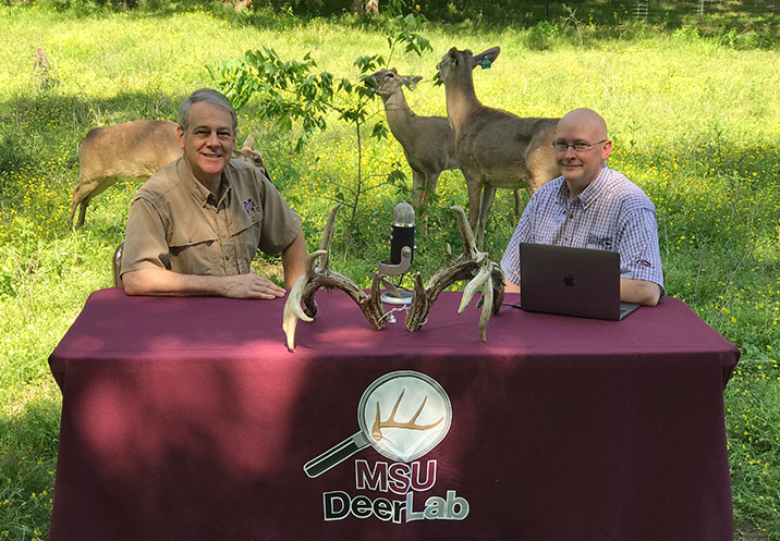 Steve Demarais and Bronson Strickland recording a Deer University podcast.