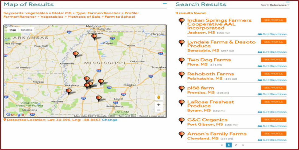 Farm to school MarketMaker map search results.