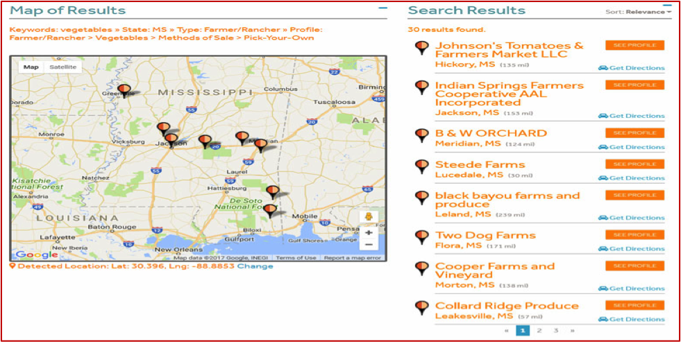 Pick your own Mississippi MarketMaker Search results map.
