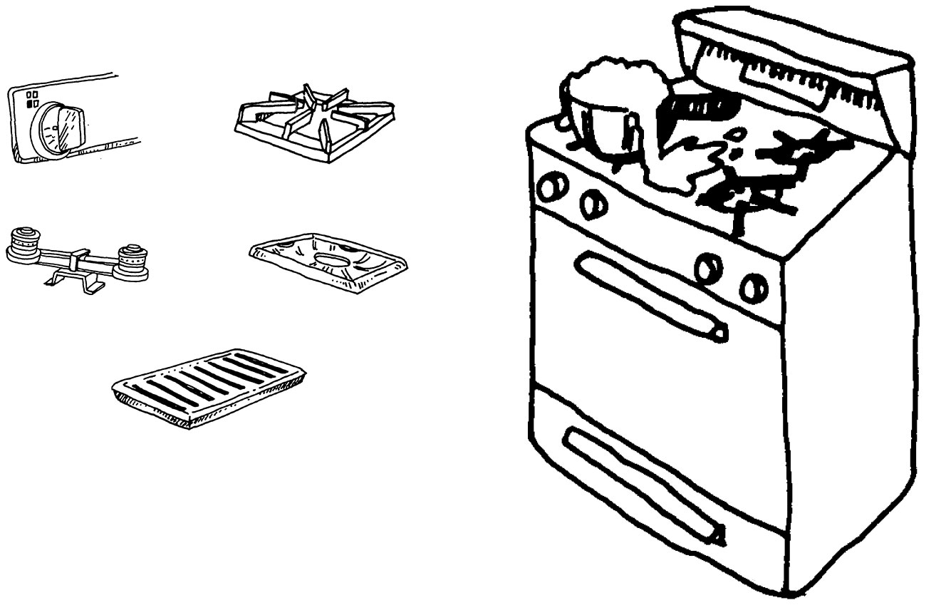 Parts of stove illustration