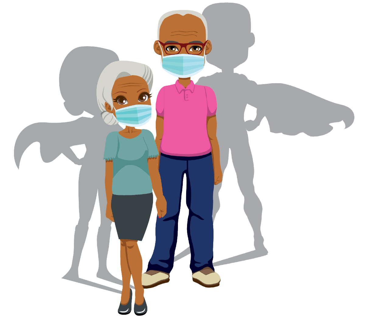 grandparent couple with PPE masks and superhero shadows.