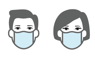 Illustration of a man and woman wearing masks.