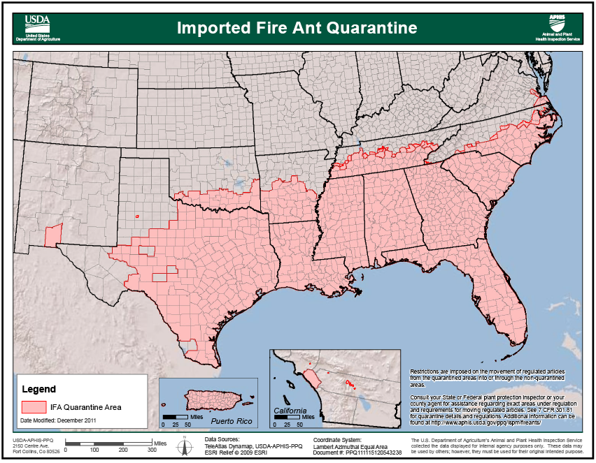 Imported fire ant quarantine map for the southern United States.
