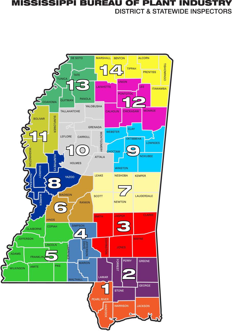 Mississippi Bureau of Plant Industry districts.