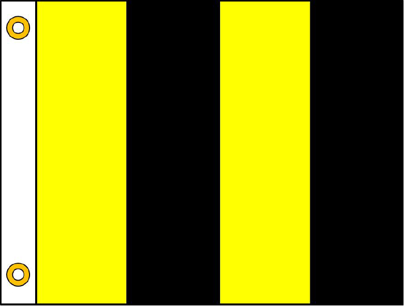 This is a drawing of the Bee-Aware flag, a striped black and gold flag that serves as a signal for pesticide applicators.