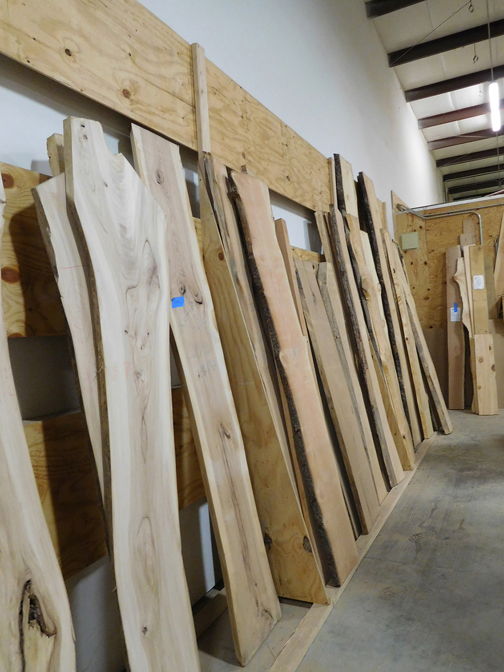 Figure 2. Slabs of urban wood displayed at a small mill and furniture manufacturer in Madison, Wisconsin. Species include honey locust, Siberian elm, white oak, red mulberry, and Northern catalpa, among others.