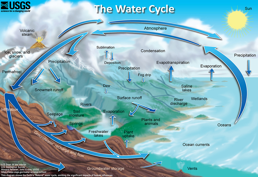Detailed diagram of the water cycle.