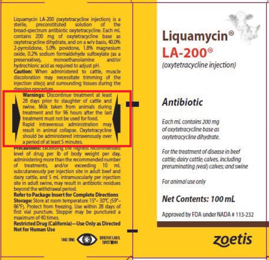 A sample antibiotic label with a red square around the warning section..