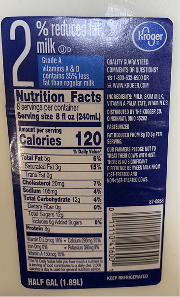A nutrition facts label for a half-gallon container of 2 percent reduced fat milk.
