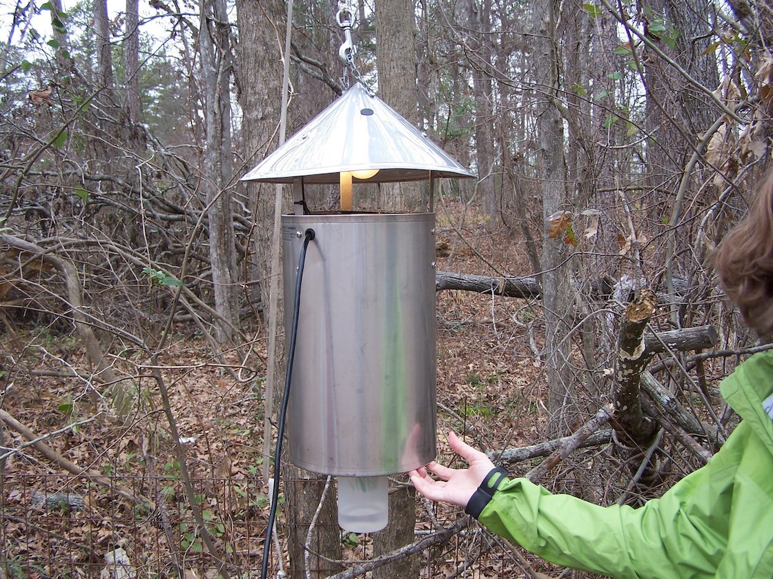 A light with a metal cylinder hanging under it to trap mosquitoes.
