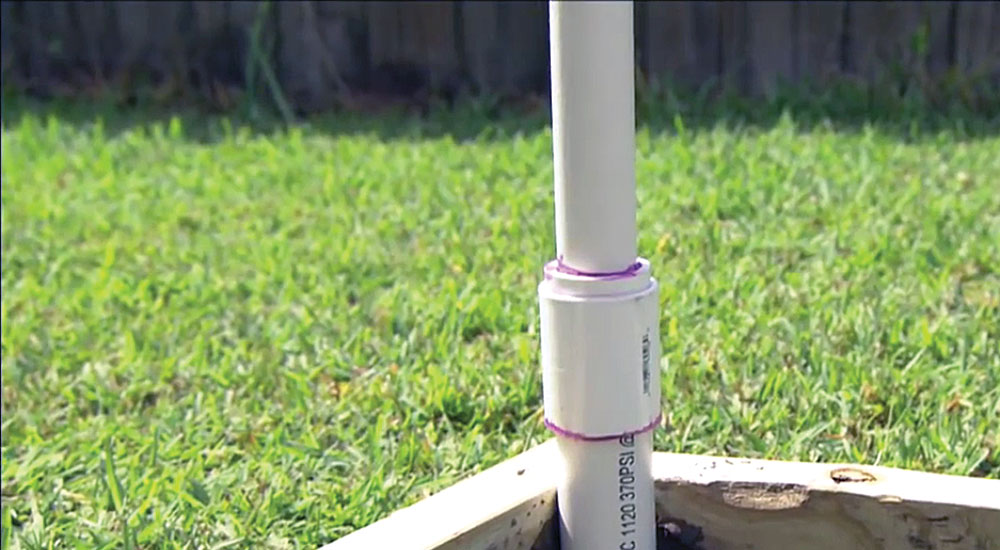 Step 6: Check to ensure the PVC pipe is straight.